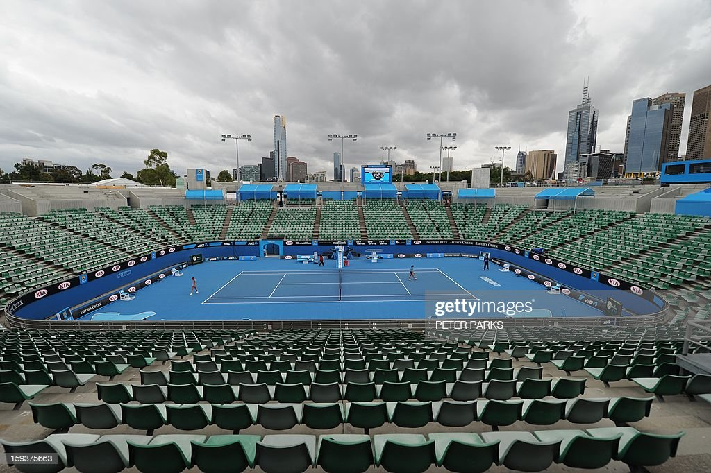 A general view shows Margaret Court arena ahead of the Australian Open tennis tournament in Melbourne on January 13, 2013.