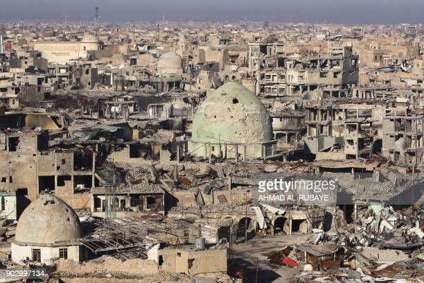 TOPSHOT A general view shows Mosul's Old City on January 8 six months after Iraqi forces seized the country's second city from Islamic State group...
