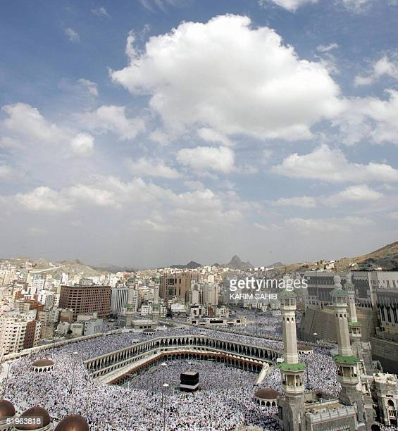A general view shows Muslim pilgrims performing the last Friday prayer before starting their annual hajj rituals at Mecca's Grand Mosque with the...