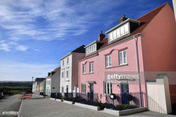 General view shows Nansledan housing development, championed by Britain's Prince Charles, Prince of Wales, at Newquay town in Cornwall on October 25,...