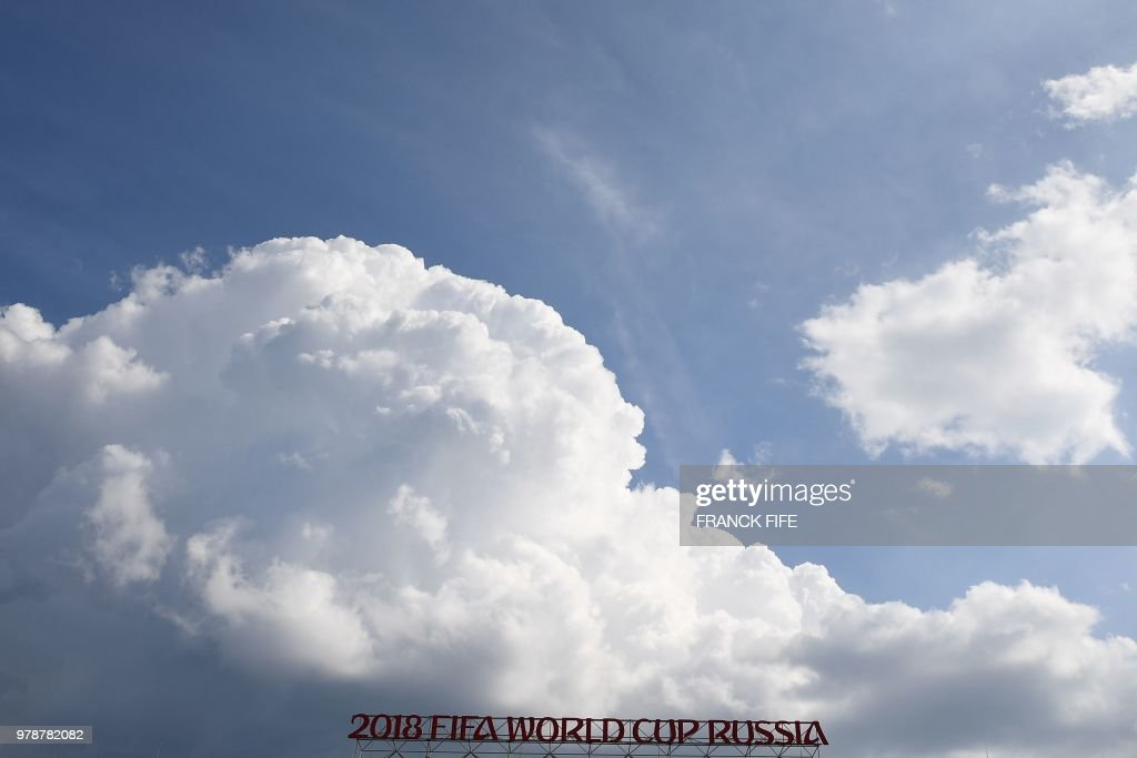 A general view shows official signage after the Russia 2018 World Cup Group H football match between Poland and Senegal at the Spartak Stadium in Moscow on June 19, 2018. (Photo by FRANCK FIFE / AFP) / RESTRICTED