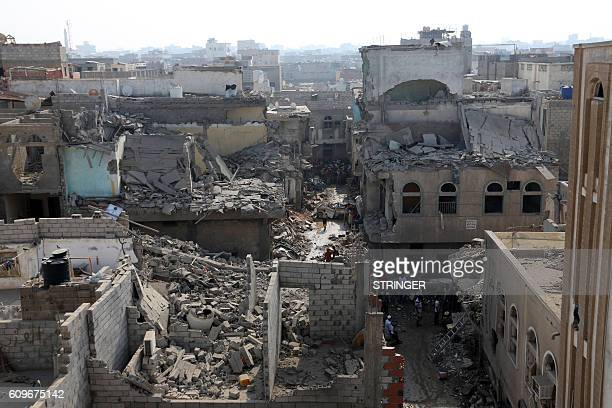 General view shows on September 22, 2016 buildings destroyed during Saudi-led air strikes in the rebel-held Yemeni port city of Hodeida the previous...