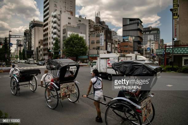 A general view shows part of the course to be used in the marathon event at the Tokyo 2020 Olympic Games in the Asakusa district in Tokyo on June 1...