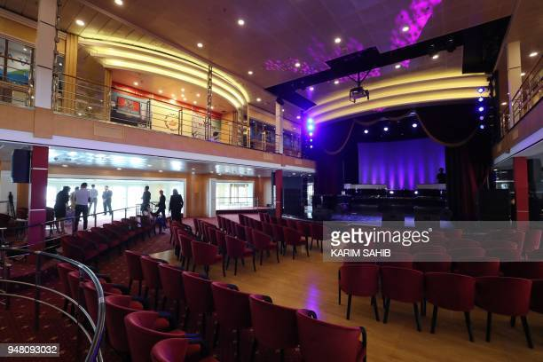 A general view shows part of the interior of The Queen Elizabeth II luxury cruise liner also known as the QE2 docked at Port Rashid in Dubai where it...