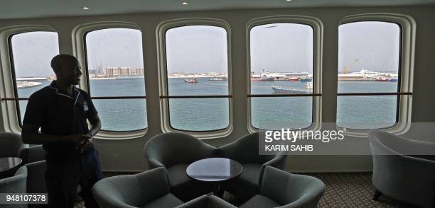 A general view shows part of The Queen Elizabeth II luxury cruise liner also known as the QE2 docked at Port Rashid in Dubai where it will be moored...