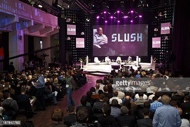 General view shows people attending the Slush startup conference in Helsinki on November 13 2013 Slush is a conference bringing together the...