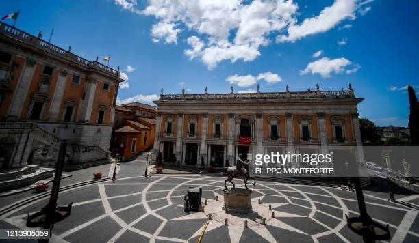 General view shows Piazza del Campidoglio and the Capitoline Museum building on Capitoline Hill in Rome as the museum reopens on May 19, 2020 while...