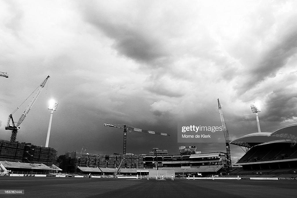 A general view shows play during day one of the Sheffield Shield match between the South Australian redbacks and the Western Australia Warriors at Adelaide Oval on March 7, 2013 in Adelaide, Australia.