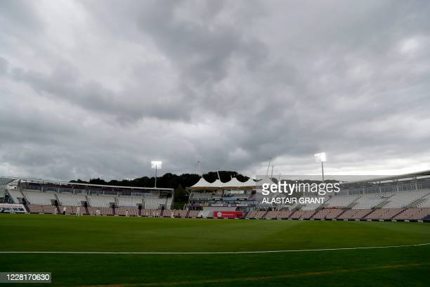 A general view shows play on the third day of the third Test cricket match between England and Pakistan at the Ageas Bowl in Southampton southern...