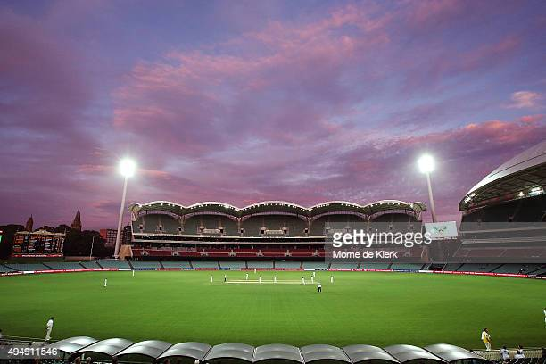 A general view shows play under lights during day three of the Sheffield Shield match between South Australia and New South Wales at Adelaide Oval on...