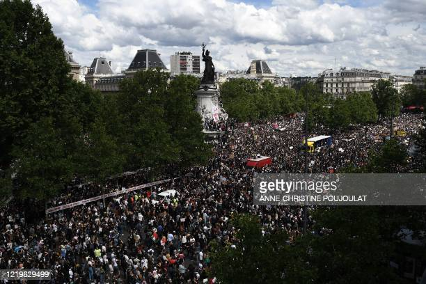 General view shows protesters attending a rally as part of the 'Black Lives Matter' worldwide protests against racism and police brutality, on Place...