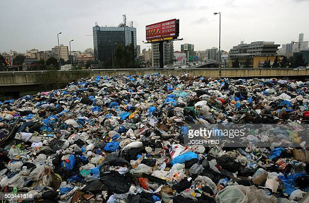 A general view shows rubbish piled up next to a highway bridge at the eastern entrance to the Lebanese capital Beirut on January 5 2016 AFP...