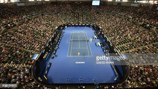 TOPSHOT A general view shows Russia's Maria Sharapova playing against Lauren Davis of the US during their men's singles match on day five of the 2016...