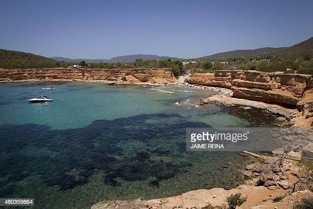 A general view shows Sa Caleta beach in Sant Josep de sa Talaia on Ibiza Island on July 10 2015 AFP PHOTO/ JAIME REINA