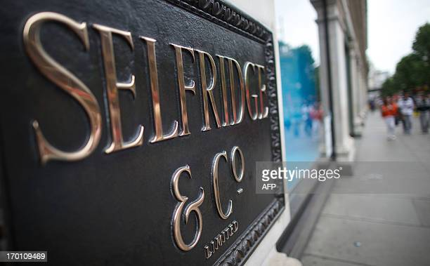 A general view shows signage outside the Selfridges department store on Oxford Street in central London on June 7 2013 Police were on June 7...