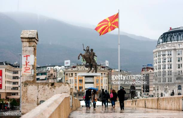 General view shows Skopje's main square, Macedonia, on February 6, 2019. - On February 30 Macedonia was formally invited to join NATO and in order to...