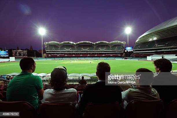 A general view shows spectators enjoying the atmosphere during day 2 of the Sheffield Shield match between South Australia and New South Wales at...