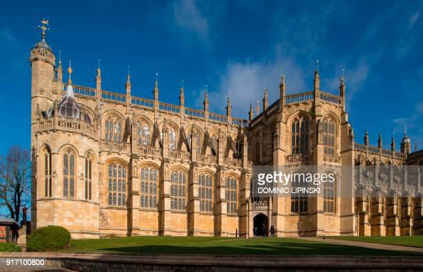A general view shows St George's Chapel at Windsor Castle west of London on February 11 2018 where Britain's Prince Harry and US actress Meghan...
