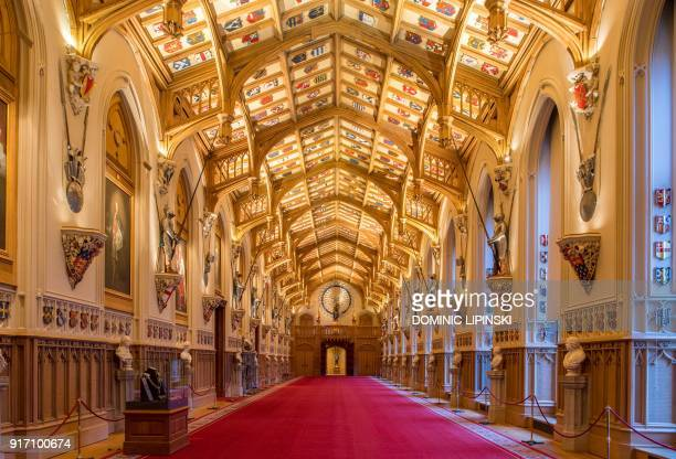 A general view shows St George's Hall at Windsor Castle west of London on February 11 2018 where Britain's Prince Harry and US actress Meghan Markle...