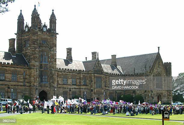 A general view shows students and University staff rally at a oneday protest meeting at Sydney University 16 October 2003 A combined group of...