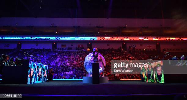 A general view shows team Cloud9 and team Dignitas during the grand finals match of the Rocket League Championship Series World Championship at the...