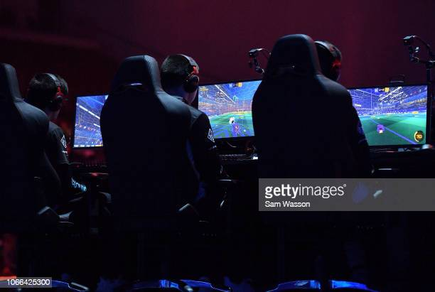 A general view shows team Cloud9 competing during the lower bracket finals match of the Rocket League Championship Series World Championship against...