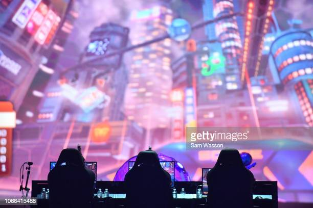 A general view shows team Cloud9 during the grand finals match of the Rocket League Championship Series World Championship against team Dignitas at...