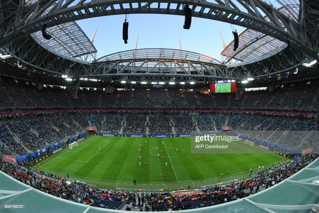 A general view shows the 2017 Confederations Cup final football match between Chile and Germany at the Saint Petersburg Stadium in Saint Petersburg on July 2, 2017. /