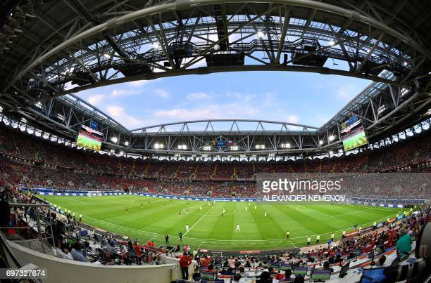 TOPSHOT A general view shows the 2017 Confederations Cup group B football match between Cameroon and Chile at the Spartak Stadium in Moscow on June...