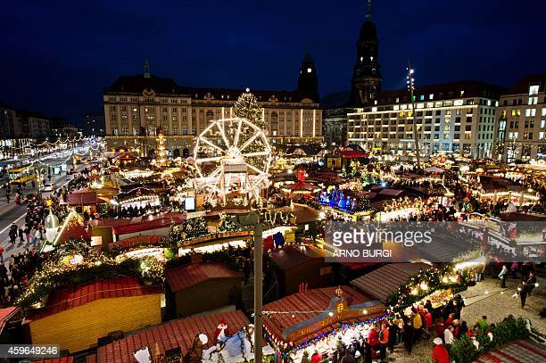 A general view shows the 580th Striezelmarkt christmas market after its opening on November 27 2014 in Dresden eastern Germany Striezel a fruit loaf...
