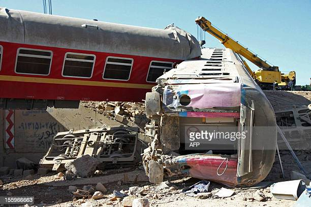 A general view shows the aftermath of a train crash in the Iranian city of Yazd on November 10 after a passenger train derailed late on November 9...