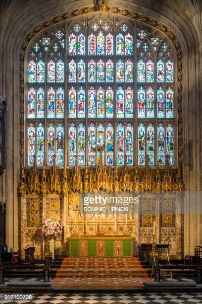 A general view shows the altar housed in the choir in St George's Chapel at Windsor Castle west of London on February 11 2018 where Britain's Prince...