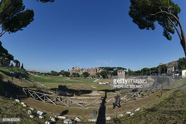 General view shows the ancient Circus Maximus archaeological site after its restoration and its opening to the public, during a press preview on...