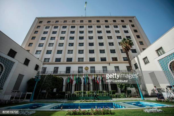 A general view shows the Arab League headquarters in Cairo on July 27 2017 during the meeting of the Arab Foreign Ministers to discuss the simmering...