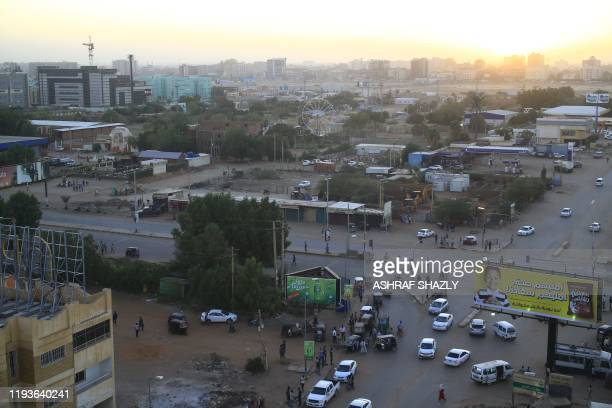 General view shows the area outside the headquarters of the Directorate of General Intelligence Service in the Riyadh district of Sudan's capital...