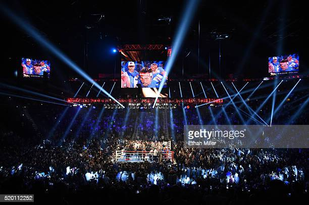 A general view shows the arena as Manny Pacquiao and Timothy Bradley Jr are introduced before their welterweight fight at MGM Grand Garden Arena on...