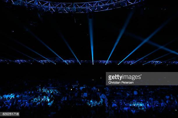 A general view shows the arena before Manny Pacquiao and Timothy Bradley Jr are introduced at their welterweight fight at MGM Grand Garden Arena on...