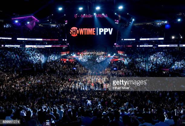 A general view shows the arena prior to the super welterweight boxing match between Floyd Mayweather Jr and Conor McGregor on August 26 2017 at...