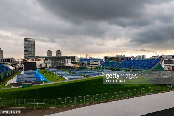 General view shows the Ariake Urban Sports Park, the main venue for cycling BMX freestyle, cycling BMX racing and skateboarding during the Tokyo 2020...