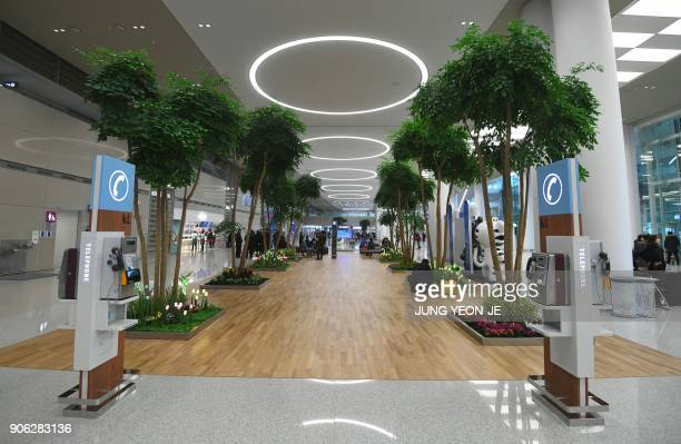 A general view shows the arrival lobby at Terminal 2 of Incheon International Airport west of Seoul on January 18 2018 Incheon airport South Korea's...