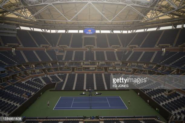 General view shows the Arthur Ashe stadium ahead of the 2021 US Open Tennis tournament at the Billie Jean King Natinal Tennis Center in Queens, New...