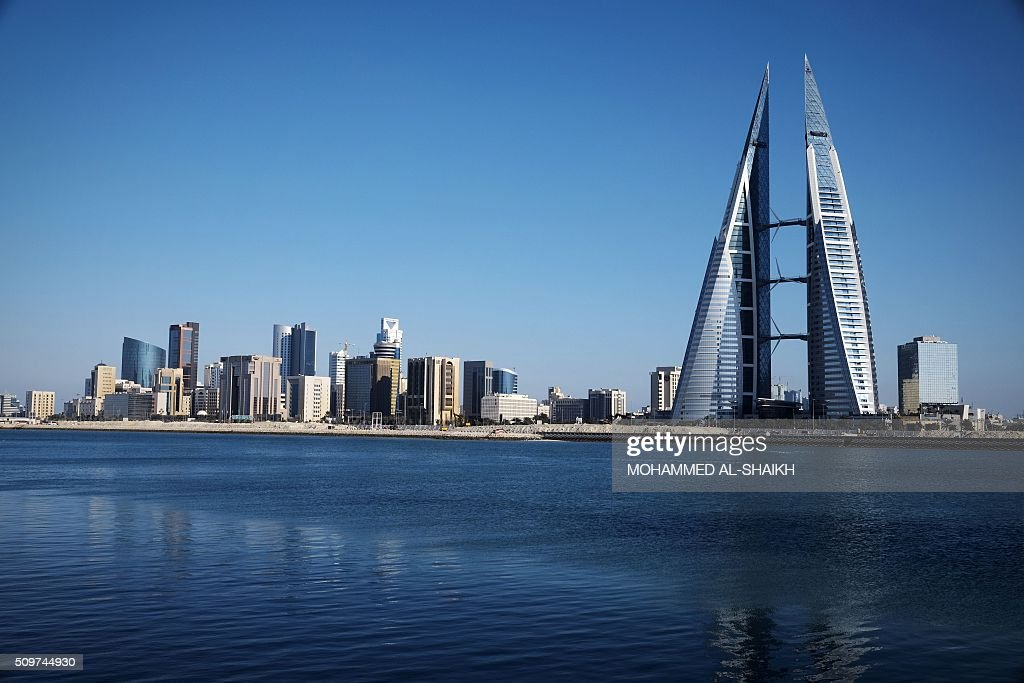 A general view shows the Bahraini capital, Manama, on February 10, 2016. Five years after the popular uprising was harshly repressed, the Kingdom of Bahrain is locked in a political stalemate coupled with an economic crisis that underline the urgency of a compromise between the rulers and the opposition, according to experts. / AFP / MOHAMMED