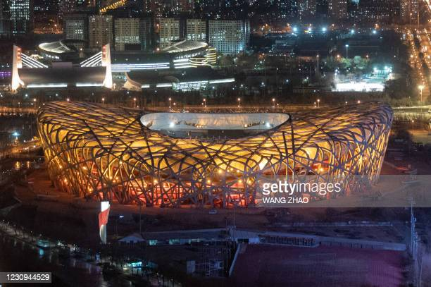 General view shows the Birds Nest stadium, the venue for opening and closing ceremonies for the 2022 Winter Olympics, in Beijing on February 3 a year...