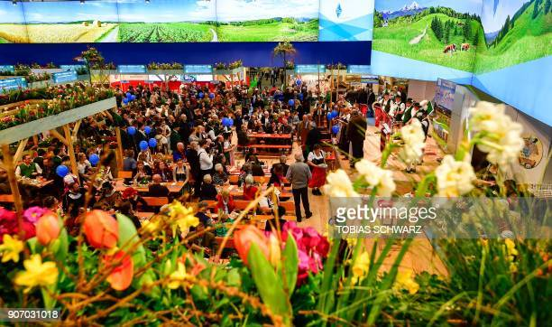 A general view shows the booth of Bavaria during the opening day of the International Green Week agricultural fair in Berlin on January 19 2018 The...
