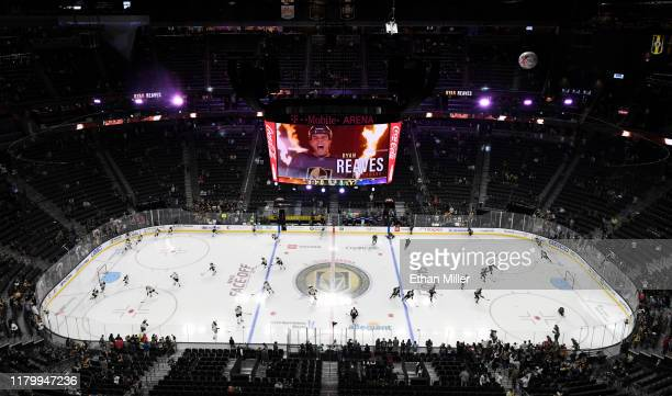 General view shows the Boston Bruins and the Vegas Golden Knights warming up before their game at T-Mobile Arena on October 8, 2019 in Las Vegas,...
