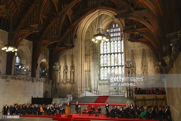 A general view shows the British Parliament as US President Barack Obama delivers a speech in London on May 25 2011 Obama and his wife Michelle...