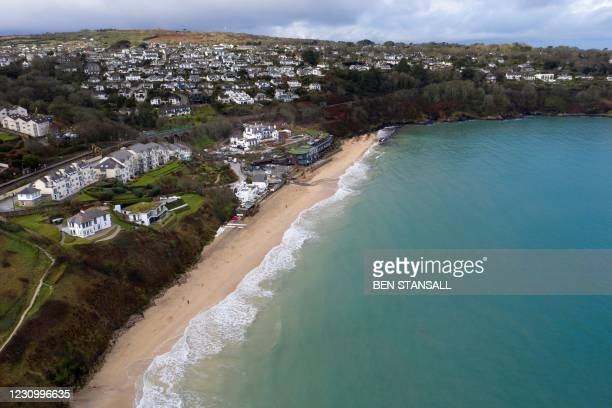 General view shows the Carbis Bay Hotel and Estate in Cornwall, south west of England on February 5, 2021.