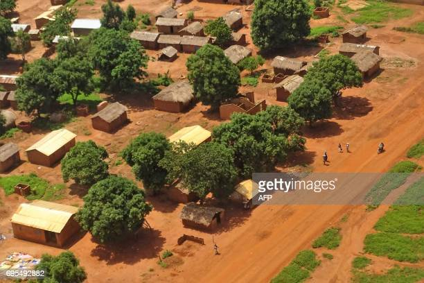 A general view shows the Central African Republic town of Bria on June 12 2017 After a renewed flare of violence in the region of Bria the UN called...