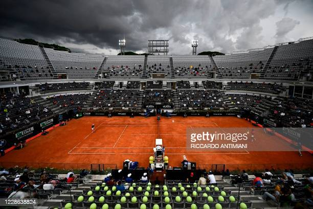 General view shows the central court during the final match of the Men's Italian Open between Serbia's Novak Djokovic and Argentina's Diego...