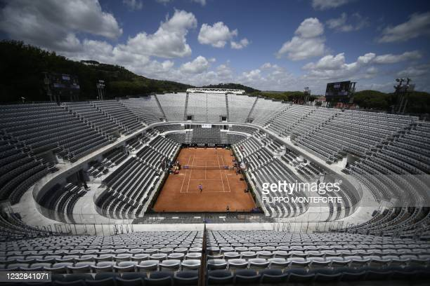 General view shows the central court during the match Spain's Sara Sorribes vs Belarus' Aryna Sabalenka of the Women's Italian Open at Foro Italico...